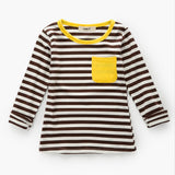 Clearance Spring Autumn Girls T-Shirts Long Sleeve Base Shirt Green Striped Tops Tee Boy Clothes Cotton Pocket T Shirt 3-7Y
