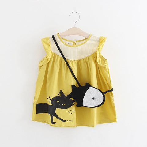 Baby Dresses 2017 Fashion Girls Clothes Summer Prints C Baby Girls Clothing 1 Ye Birthday Dress + Small Fish bag 2Pcs