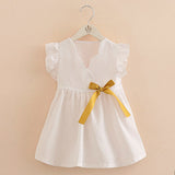 Baby Girl Bow Dress 2018 Summer New Casual Children's Clothing Kids Small Flying Sleeve Dress 2-7 Yrs