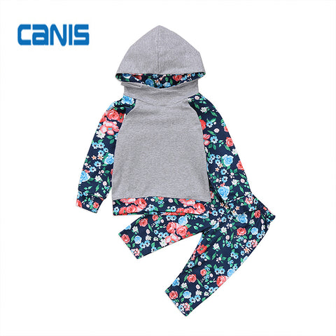 Cotton Cute Fashion New In Design Toddler Newborn Baby Girls Floral Hooded Hoodies Tops + Long Pants Outfits Set Clothes