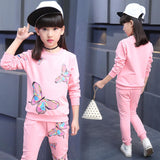 Cotton Girls Sport Suits 2018 New Long Sleeve Butterfly Children Clothing Set 3 4 5 6 7 8 9 10 11 12 Ye Kids Clothes Tracksuit
