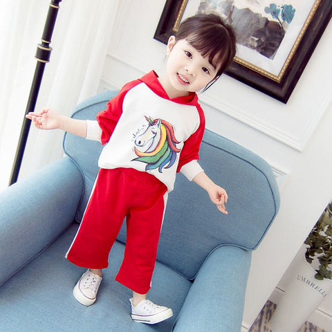Cotton Hoodies For Girls Printing Unicorn Girl Clothes Cartoon Pattern Hot Sale Hoodies+Pant Set Autumn Kid Set Free Shipping