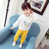 Cotton Sweatshirts For Girls Printing Hot Sale Girl Clothes Autumn Soft Sweatshirts+Pant Set Wholesale Kid Set Free Shipping
