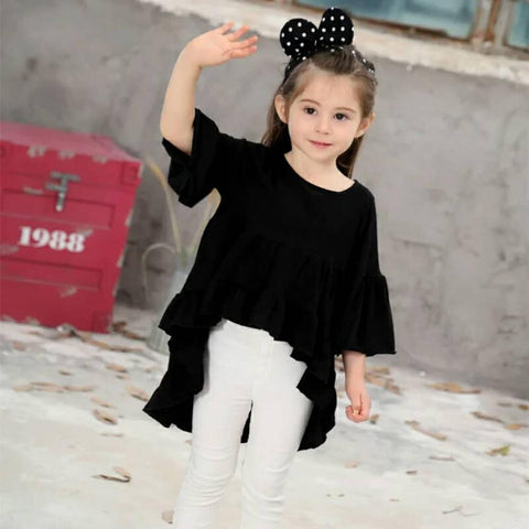 Cotton Toddler Kids Baby Girls Kids Children Outfits Dress Clothes for 2-8 Years White Black Red Flare Sleeve Party Tutu Dresses