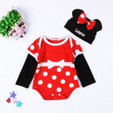 Cute Baby Clothing Set Cartoon Animal Minnie Baby Rompers Long Sleeve + H Cotton Newborn Infant Baby Girls Boys Outfits