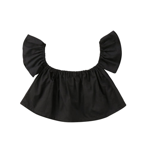 Cute Babys Girls Clothes Solid Short Sleeve Ruffle Princess Off Shoulder Crop Top T-shirt Summer Sunsuit Baby Girl Clothes