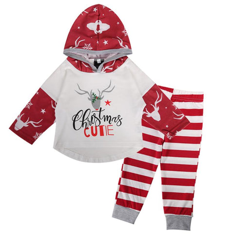 Cute Christmas Design Baby Girls Clothes Set Cartoon Deer Pattern Hoodies Hooded Top + Striped Pant Spring Autumn Girls Clothing