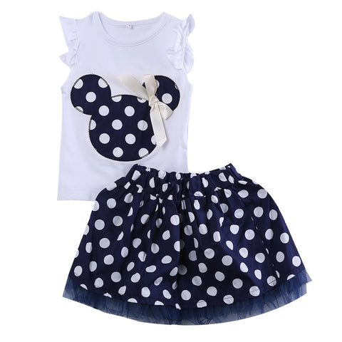Cute Kids Baby Girls Minnie Mouse Dress Vest Tops Skirt Toddler Clothes Set