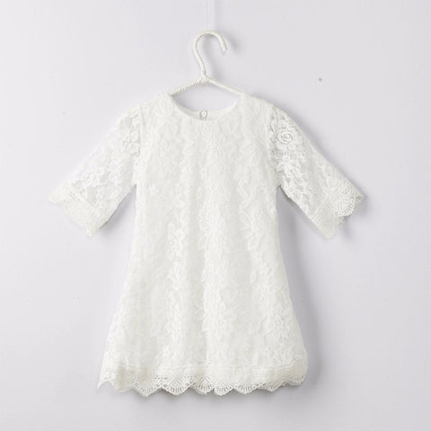 Cute Lace Princess Baby Girls Dress Summer Spring Autumn Princess White Pink Children Girl Kids Infant Tutu Dresses 1 2 3 4 5yrs