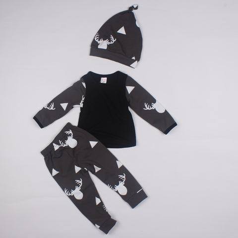 Cute Newborn Baby Girl Boy Clothes Deer Tops T-shirt Long Sleeve + Pants Casual H Cap 3pcs Outfits Set Autumn Winter
