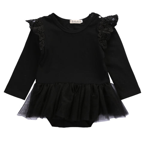 Cute Newborn Baby Girl Lace Romper 2017 Fly Long Sleeve Cotton Clothes Tutu Skirted Jumpsuit Outfit Princess Sunsuit 0-24M