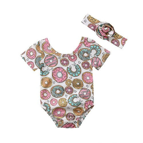 Mother & Kids Baby Girl Short Sleeve Headband Jumpsuit Outfit Sunsuit Clothing Summer Toddler Girls Clothes Tops Bodysuit