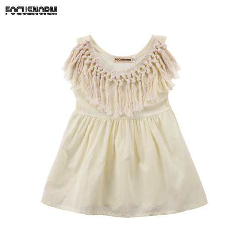 Cute Newborn Toddler Baby Girls Tassel Collar Summer Sleeveless Solid Cotton Dress Sundress 0-24M