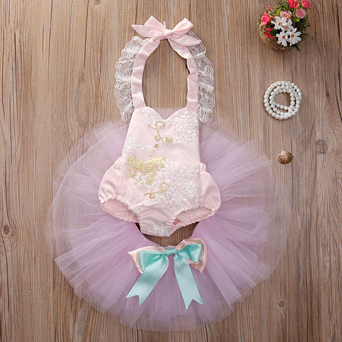 Cute Pink Girl Bebe Newborn Toddler Baby Girls Sleeveless Tops Romper + Skirt Tutu Tulle Outfits Set Clothes set summer clothing