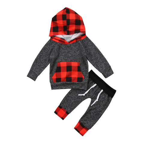 Cute Plaid Hooded Clothes set Toddler Baby Kids Boy Girl Pocket Hooded Tops Pants Outfits Set Clothes