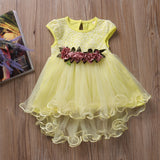 Cute Toddler Infant Kids Baby Girls Summer Floral Princess Dress Sleeveless Mesh Ball Gown Party Dresses White Pink Yellow 0-3Y