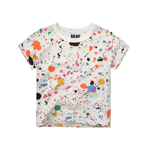 2-7Y Boys Children 100% Cotton T Shirt Summer Colorful Paint Cartoon C Print Boys Tops Kids Clothes T Shirt WTS-034