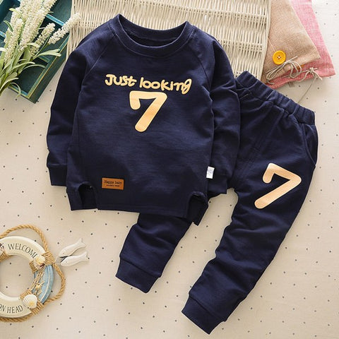 Classic Kids Boy Clothes Print Number Wearing Casual Outfits Printing JUST LOOKING Cotton Pullover Tops Solid Pants Sets