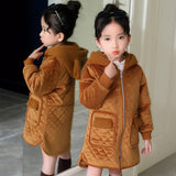 New 2018 Fashion Girls Winter Co Long Velour Down Jackets Fur Hooded Children Coats Warm Baby Thick Kids Outerwear