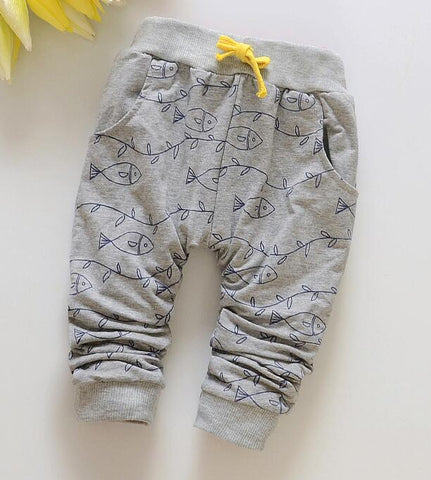 Spring Lovely Fish Baby Pants Fashion Boy Newborn Baby Pants Brand Cotton Children's Pants Clothing Autumn 7-24M