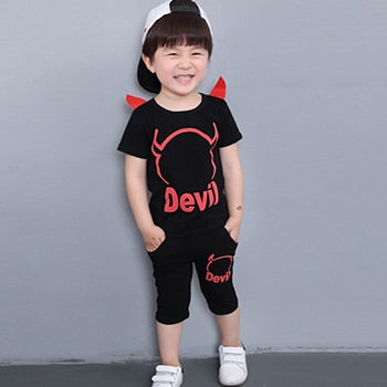 Devil Designer Halloween Costume For Baby Boy Cotton Casual Kids Clothing Sets 2018 Summer Infant Clothes Cartoon T-shirt+Shorts