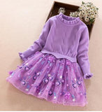 Girls Knitted Clothing Dress Turtleneck Sweater Patchwork Three Layer Mesh Dress with Small Ball akd Stereo Floral