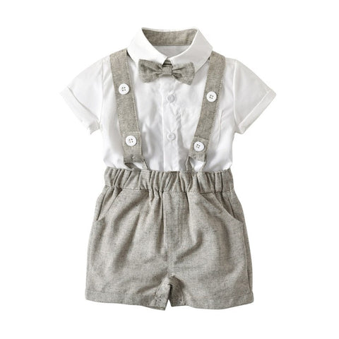 Summer Baby Boys Clothes Sets Cute Toddlers Boys Formal Wedding Party Clothes Newborn Boys Tie+T shirts+Overall Pants