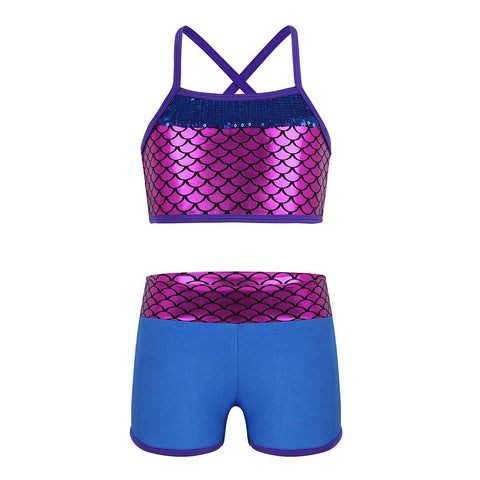 Kids Girl Tankini Suit Sleeveless Sequins Mermaid Scales Tank Top Shorts Set for Ballet Dance Gymnastics Workout Clothes