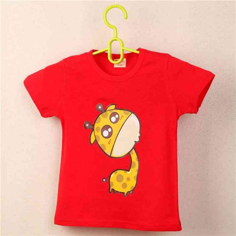 Summer Unisex Baby 0-2 year Boys Red Cool T shirt Short Sleeve 100% Cotton Casual tees Kids Clothes Character Cute Animal