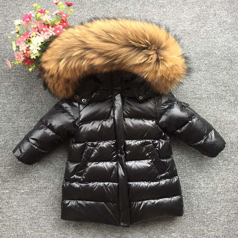 Large Natural Fox Fur & Raccoon Fur Coll Parkas Kids Boy Girl Hooded Long Duck Down Jaclet Thick Snow Co Outwear