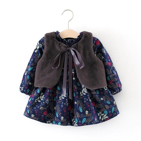 Fall Winter Kids We Brand Clothes New Baby Girls Long-sleeved Floral Plus Velvet Dress+Fur Vest 2Pcs Suit Girls Clothes Set
