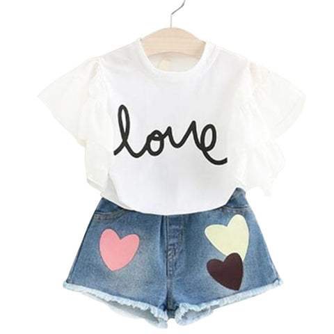 Fashion Children Girl Summer Clothes Ruffles Sleeve White /Pink Tops+Jeans Shorts 2pcs Sport Outfit Kids Clothing Set