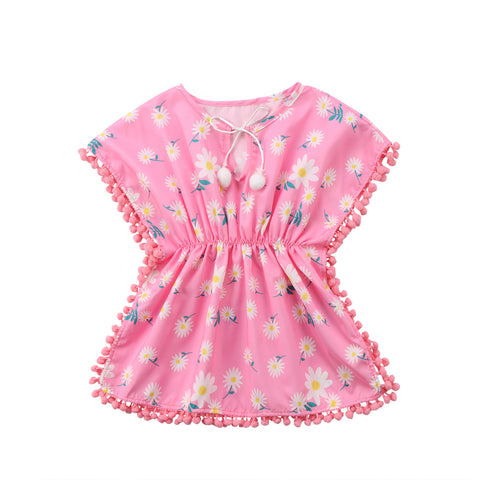 Fashion Children Kids Baby Girls Dress Solid Tassel Small Ball Yellow Pink Beach Dress Girl Clothing Dresses