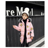 Fashion Girl Winter Co Kids Warm Thick Fur Coll Hooded Long Cotton Coats Children Warm Jacket Teenage Girls Jackets