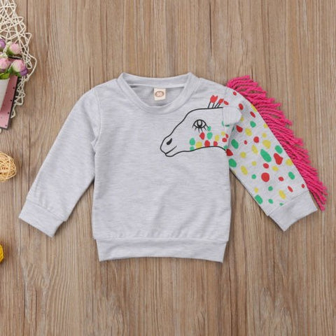 Fashion Kids Toddler Baby Boy Girl Autumn Hoodies Tops Clothes Tassels Cotton 3D Horse Print Jumper Sweatshirt Pullovers Hoodie