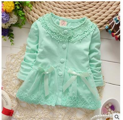 Fashion Spring Autumn Casual Girls Lace Bow Jackets Cardigan Baby kids babe Coat baby Princess Outwear Coats