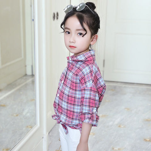 a90597a4a Fashion Spring Girls Plaid Blouse Cotton Teenage Scho Girl Plaid Blouse Big  Size Long Sleeve Red/Green Shirt 4 6 8 10 12 14 Y