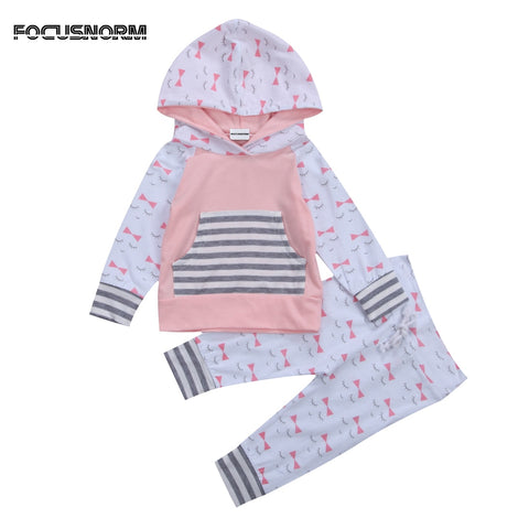 Fashion design Cute Cotton Kid Baby Girl Clothes Hoodies Sweatshirt Tops T Shirt Long Pants Outfits