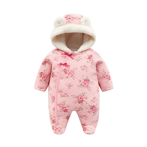Floral Coral Fleece Winter Newborn Baby Girl Footies Clothes Thicken Warm Hooded Jumpsuit Christmas Body suits Girls Onesie