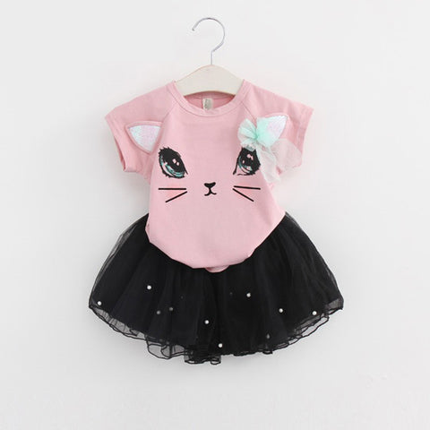 Floral Girls Suit Childrens Clothes O-Neck Cartoon Kitten Printed T-Shirts+Net Veil Skirt 2Pc Sets Toddler Girls Summer Clothing