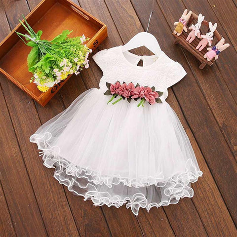 Flower 1 Year Birthday Dress 2018 New Summer Baby Dresses Mesh A-line Newborn Children Princess Clothing Infant Girls Clothes