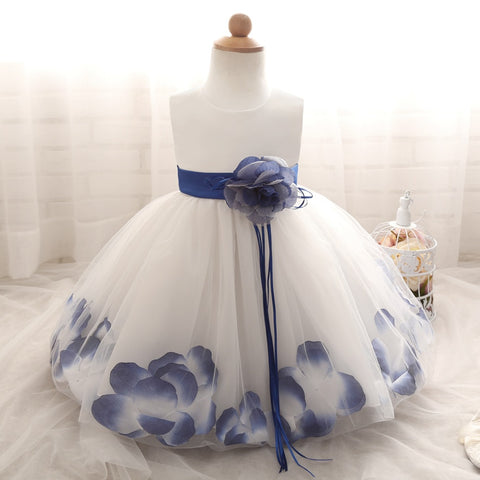 Flower in Sash 1 Year Birthday Baby Girl Dress Tutu Baptism Infant Christening Gown Toddler Bebes Clothes 6 12 24 Months Dresses