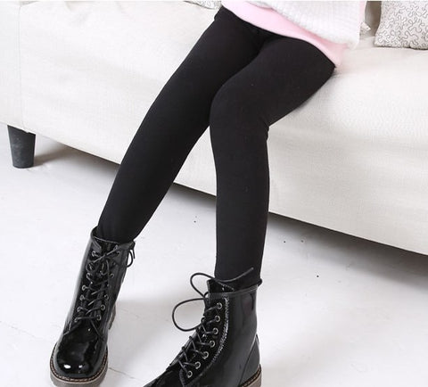 Free Shipping Black White White Girls pencil pants Girl Fur Skinny leggings Children Kids warm trousers