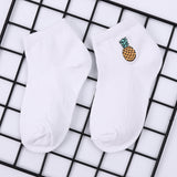 Funny Cute Korean Boys Girls Cotton Crew Socks Watermelon Cactus Pineapple Pattern Harajuku Casual Novelty Sweet Kids Sox White