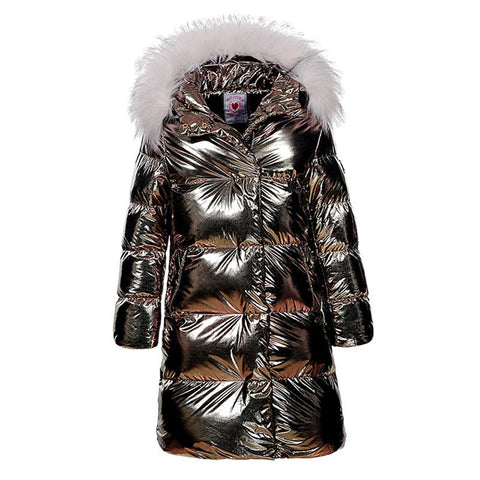 Children Girls Christmas Shinny Fashion Long Parkas 2018 Teenage Girl Winter Thick Warm Jacket Coats with Fur Hoodie