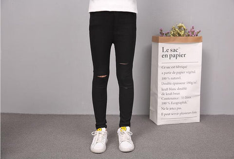 Girl Pants Kids Summer Children Solid Color Hole Trousers Fall Skinny Pencil Pants for Teenage Outerwe Leggings White Black