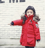 Girl Thick winter Co 2018 New children's thicking co Girl padded jacket kids thick cotton outwe Kids True fur coll coat