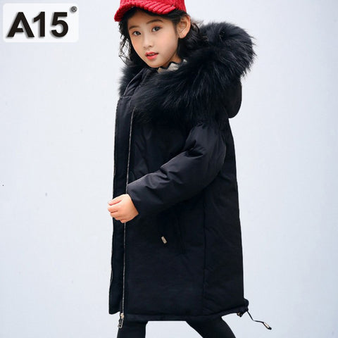 Girl Winter Co Parka Kids Winter Jacket 2018 Children Winter Jacket Warm Thick Fur Coll Hooded Long Down Co Teen Outerwear
