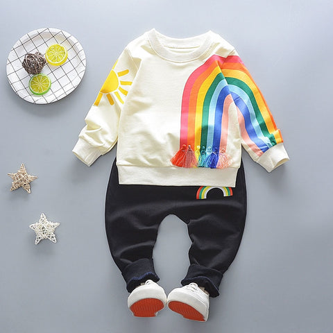 Girls Boys Fashion Cotton Top autumn baby unique design rainbow children Kids sweatshirt pant 2pcs Outerwear Clothes outfit P20
