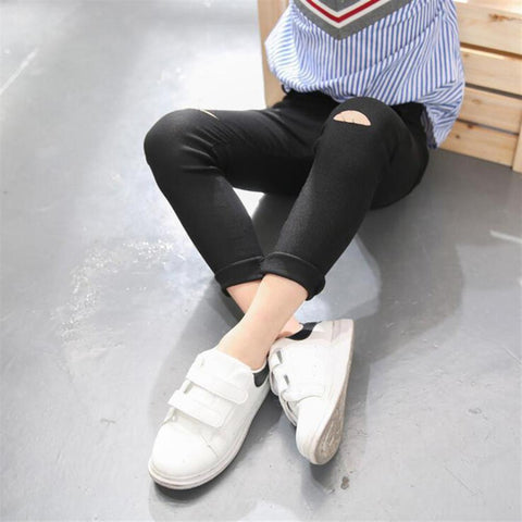 Girls Children Broken Pants 2018 New Autumn Spring Trousers Child Kids Basic Match Holes Leggings Black White Long Pencil Pants